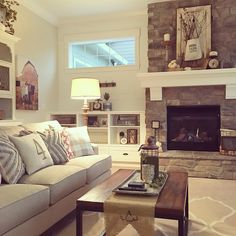 Living Room Decor Brown Couch Fireplace Shelves 70 Ideas For 2019 Living Room Decor Brown Couch, Living Room With Fireplace, Small Living Rooms, Living Room Sets, Styling Bookshelves, Built In Bookcase, Fireplace Shelves, Fireplace Ideas, Room Shelves