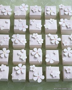 These favors are made using just four different flower punches. Attach them to favor boxes, scatter them on a table, use them on the cover of your programs, or come up with your own creative way to use these pretty paper flowers.