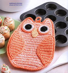 Ravelry: Mr Owl Potholder pattern by Susan Lowman Crochet Easter, Crochet Owls, Crochet Animals, Crochet Yarn, Crochet Hearts, Cotton Crochet, Crochet Kitchen, Crochet Home, Crochet Gifts