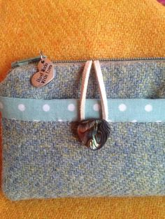 ae98b27b0e8c Pale green  blue Harris tweed purse with spotty lining and beautiful  abalone button fastening
