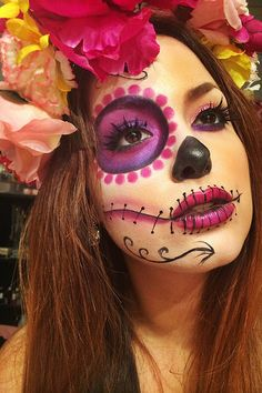 3 Möglichkeiten, um Halloween einzuholen - Make-Up Sugar Skull Halloween, Mexican Halloween, Cool Halloween Makeup, Halloween Looks, Sugar Skull Costume, Halloween Costumes, Halloween Stuff, Day Of Dead Makeup, Day Of The Dead Makeup Half Face