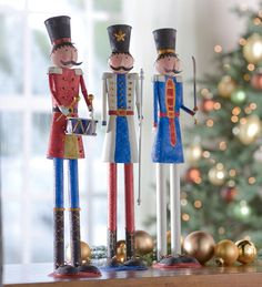 Set of 3 Decorative Tin Soldiers