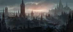Matte painting and concept art by Jonas De Ro Concept Art Landscape, Fantasy Concept Art, Fantasy Art Landscapes, Fantasy Landscape, Dark Fantasy Art, Urban Landscape, Fantasy City, Fantasy Castle, Fantasy Places