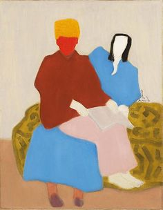 """Milton Avery (1885-1965) - Mother's Boy, 1944, oil on canvas, 36"""" x 28"""", signed and dated   Michael Rosenfeld Art"""