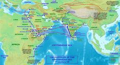 """This is a map based on """"Periplus of the Erythraean Sea"""" - A 1st Century book in Greek written by an unknown Greek sailor detailing the navigation and trading routes between Roman-Egyptian Ports, North East Africa and India.    It extensively describes the Indian harbour of Barygaza (Bharuch in Gujarat) as a major trading point of those times. In this book Saurashtra in Gujarat is referred to as Saraostus, Gulf of Kutch is referred to as Gulf of Baraca, Ujjain is called Ozene etc."""