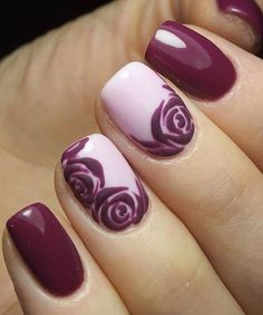 Elegant Purple Roses Nail Designs for Parties
