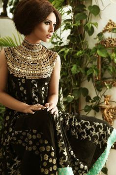 Black anarkali with a hint of blue, love the collar