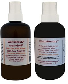 WattsBeauty ArganGold 100 Pure Virgin Argan Oil 2oz  WattsBeauty Hyaluronic Acid Enhanced with Vitamin C and L Arginine Face Serum 2oz  Used Together These 2 Popular Products Enhance Effectiveness for Maximum Results  Works Wonders on Dull Dry Aging Skin Wrinkles Scarring Fine Lines Age Spots Uneven Skin Tone Blemishes  Much More  Combo Set -- You can get more details by clicking on the image.
