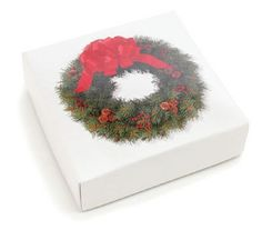 Wreath candy box 2 piece with insert 8 oz.