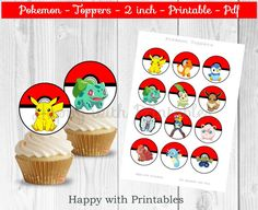 Pokemon cupcake Toppers - Pokemon toppers - Pikachu toppers - Pokemon 2 inch - 2 inch Toppers - Pokemon party - Pokémon GO cake toppers by HappywithPrintables on Etsy