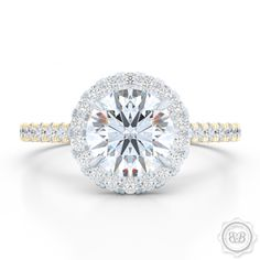 Free Shipping to the USA. A radiant french micropavé Halo Engagement Ring. GIA Certified Round Brilliant Diamond set in Yellow Gold and Platinum Halo Engagement Ring. Design Your Custom Engagement Ring Online. Bashert Jewelry. Boca Raton Florida