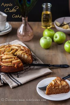 Apple Cider Cake - a deliciously moist cake packed with apples, apple cider and spice | Get the recipe at deliciouseveryday.com