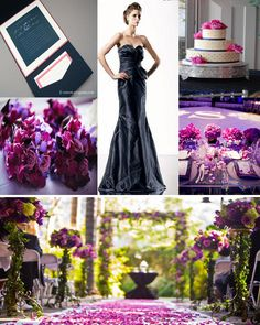 Fuchsia and navy is a gorgeous color palate when paired together, especially when you use fuchsia as an accent. Think strapless navy bridesmaid dresses with gorgeous bridesmaid bouquets featuring t…