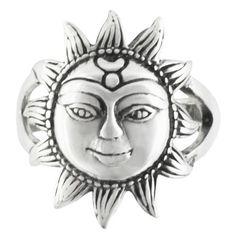 Tribal sun sterling silver ring
