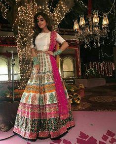 Maya Ali wearing gorgeous colorful lehanga and choli Bridal Mehndi Dresses, Pakistani Wedding Outfits, Indian Gowns Dresses, Pakistani Wedding Dresses, Bridal Outfits, Bridal Lehenga, Punjabi Wedding, Indian Attire, Indian Outfits