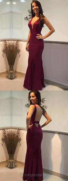 Red Prom Dresses, Long Prom Dresses, Silk-like Satin Prom Dresses V-neck, Trumpet/Mermaid Prom Dresses For Teens, Modest Prom Dresses 2018 #red #mermaid #promdresses