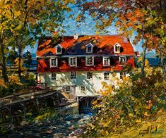Le moulin ensoleille, by Raynald Leclerc Canadian Painters, Canadian Artists, Impressionist Paintings, Landscape Paintings, Landscapes, Building Painting, House Landscape, Traditional Paintings, Objet D'art