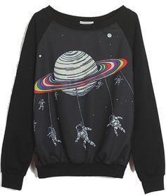 Black Long Sleeve Saturn Astronaut Print Sweatshirt
