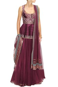 This Maroon embroidered lehenga set features in raw silk top with embroidered velvet yoke, studded waist belt and bead detailing on edges. This Maroon embroider