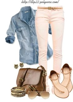 chambray button-up. pale pink skinny pants. brown/tan belt. brown simple sandals. brown leather satchel bag. brown & gold bracelet stack. owl stud earrings. brown & gold aviators.
