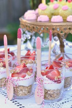 Mini Parfaits. Host a Tea Party Fit for a Queen with these Tea for Two Party Ideas. Afternoon tea finger sandwiches, floral tea cup centerpieces and vintage books for a tablescape for the inspirational garden party ideas #teaparty #tablescape #tearrific #teafortwo #teapartyideas #gardenparty #teapartyrecipes #parfait