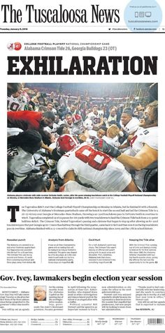 Tide came back from being behind by 13 points at halftime to beat Georgia in overtime and bring home their 5th National Championship in 9 years.