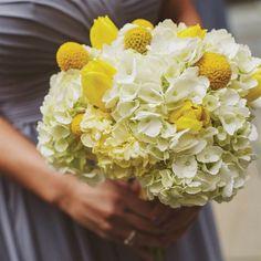 Craspedia and Hydrangea Bouquets