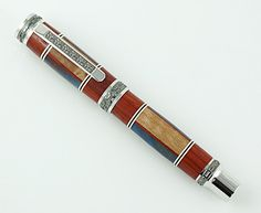 Custom Wooden Pen Beautiful Curly Maple Padauk and Acrylic Custom Fountain with Western Emperor MPZ Rhodium and Black Titanium Stylo Art, Fine Pens, Wedding Gifts For Groom, Best Pens, Stationery Store, Black Rings, New Hampshire, Wooden Pens, Wax