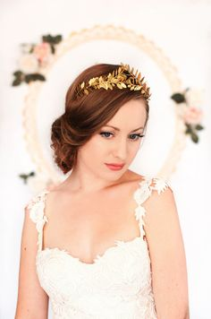 Greek Goddess Laurel Leaf Crown Gold Tiara Leaf by AnnaMarguerite