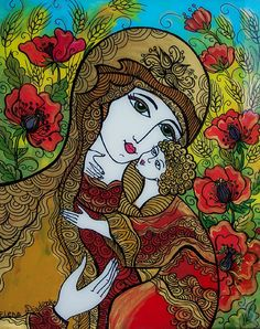 Glass Painting, Ukrainian Madonna in the Wheat and Poppies Field, via Etsy. Blessed Mother Mary, Divine Mother, Ukrainian Art, Religious Art, Religious Icons, Madonna And Child, China Art, Sacred Art, Christian Art