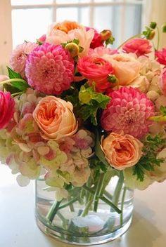 pretty flowers:  Roses, Hydrangea, And Dahlias