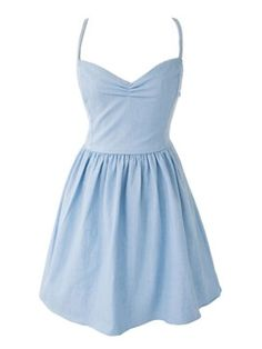 Shop Light Blue Sweetheart Spaghetti Strap Tied Back Skater Dress from choies.com .Free shipping Worldwide.$27.99