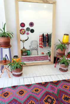 Plant stands with a pop of color. Plus