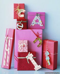 Use old greeting cards (this uses christmas cards) to monogram gift packaging!  Cute... of course this is from Martha Stewart