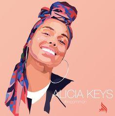 Geometric art of Alicia Keys. #incommon #wpap #digitalart #designgraphic