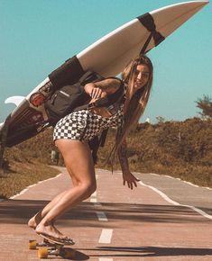 Can you surf as well as skate? Girls Skate, Surf Girls, Skate Style, Surf Style, Surf Bikini, Longboards, Wakeboard, Sup Yoga, Skateboard Girl