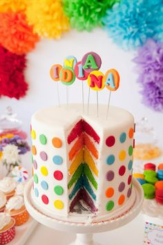 polka dot rainbow layer cake