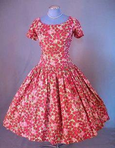 Floral Red Vintage Dress