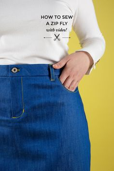 Want to learn a great method for sewing a zip fly? Zip flies on trousers and skirts can be a little fiddly, but our awesome pattern cu. Sewing Blogs, Sewing Hacks, Sewing Tutorials, Sewing Tips, Sewing Projects, Diy Projects, Sewing Shorts, Sewing Jeans, Sew Your Own Clothes