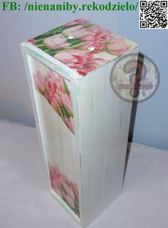 White & green tulip decoupage box by NieNaNiby