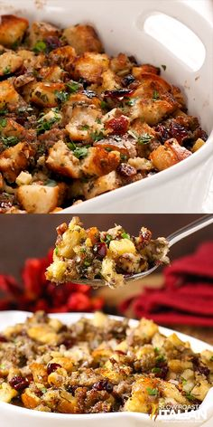 Best Stuffing Recipe Ever starts with sausage, cranberry, and apple. Herbs and spices are added in but the real magic happens as the pan is deglazed with the most glorious combination of liquids and t Best Stuffing Recipe, Stuffing Recipes For Thanksgiving, Thanksgiving Sides, Apple Stuffing, Holiday Recipes, Italian Thanksgiving, Stuffing For Chicken, Turkey Stuffing With Sausage, Best Bread For Stuffing