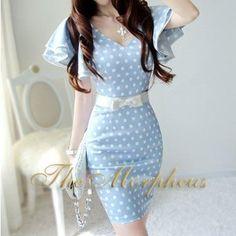 Morpheus Boutique  - Blue Satin Lovely V neck Ruffle sleeves Princess Dress, $49.99 (http://www.morpheusboutique.com/blue-satin-lovely-v-neck-ruffle-sleeves-princess-dress/)