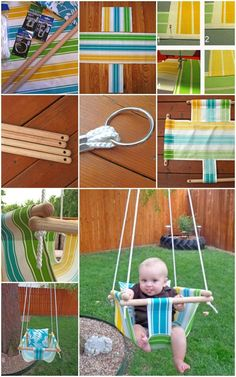 Creative and absolutely useful! #DIY hammock-Style baby swing