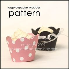 Large Cupcake Wrapper PDF Pattern - Printable download