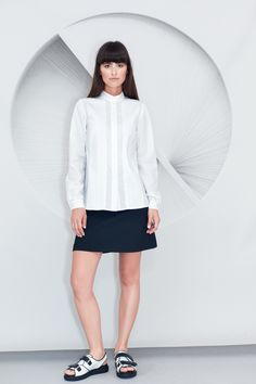 white Cotton Pleated Shirt has hand formed pleats insertions. A loose fit shape, it has a mandarin collar, a concealed centre front button placket, . Pleated Shirt, Mandarin Collar, Chemistry, Cotton, Shirts, Dresses, Fashion, Gowns, Moda