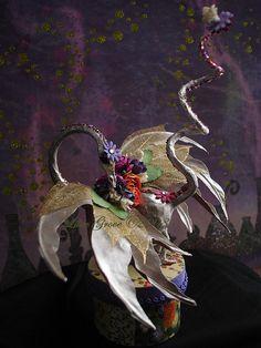 Floral Pixie Dragon - paper mache