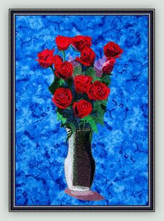 "Machine Embroidery Designs Large Bouquet of Red Roses by Fred A Rose is often considered the most popular flower. This would make a beautiful picture or pillow in a bedroom - just choose a fabric that coordinates with your decor. They would also be pretty greeting guests in a front hall. A Commercial size (8.4"" x 10.0"") of the entire Large Bouquet of Red Roses Portrait will be included in the all sets.  MEDIUM:  5.7"" x 10.6"" , LARGE: 6.9"" x 12.7"", JUMBO:   8.9"" x 16.5"""