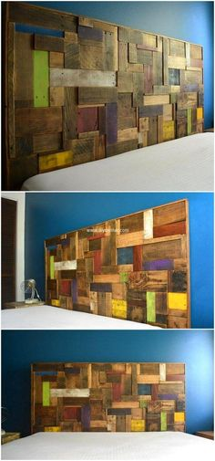 Just have an eye on the charming appearance of this colorful accent pallet headboard. This is the best wooden pallets creation to enhance the grace of your place in an economical way. The use of different color paint in this pallets plan is giving this wall a royal look.