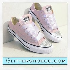 Women s Sparkly Glitter Converse All Star Sneakers - Light Pink bef1b0d052