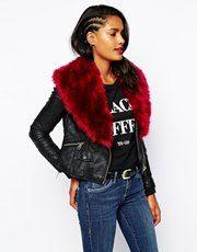 River Island Biker Jacket With Faux Fur